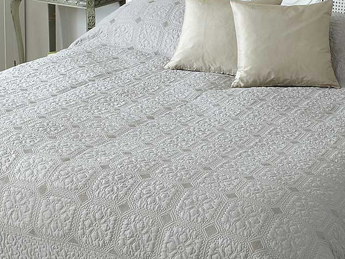 Victoria Quilted Bedspread in Taupe, a neutral linen colour way, unique interiors at Source for the Goose, Devon