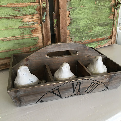 Pretty wooden tray with compartments at Source for the Goose