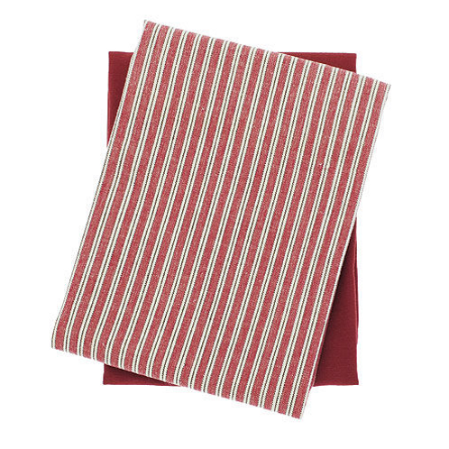 Set of Two County Ticking Teatowels in Dorset Red, rustic homewares at Source for the Goose, South Molton, Devon