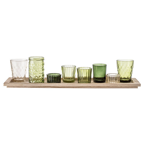 Pretty Selection of Votives on Wooden Tray  in hues of green glass, Bloomingville at Source for the Goose, Devon