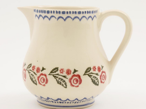 Brixton Pottery Creeping BriarJug, traditional sponge ware design in reds and blue, homewares at Source for the Goose