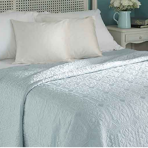 Victoria Quilted Bedspread in Opal, Waltons of Yorkshire bedding and interiors at Source for the Goose