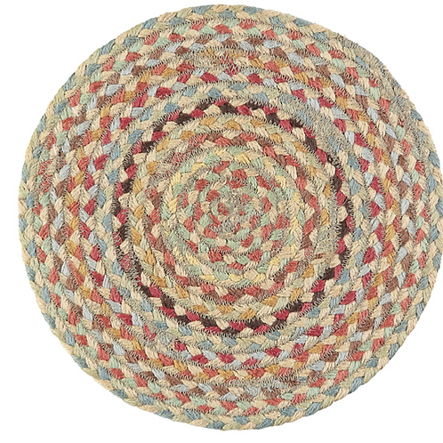 Six Pampas Braided Placemats in a Basket, The Braided Rug Company homewares at Source for the Goose, Devon