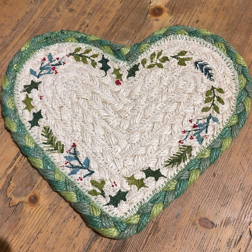 Christmas design heart shaped coaster with holly stencil, homewares at Source for the Goose, Devon