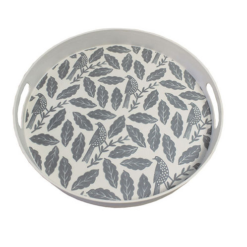 Songbird Grey Round Tray with birds and leaves design, homewares at Source for the Goose, Devon