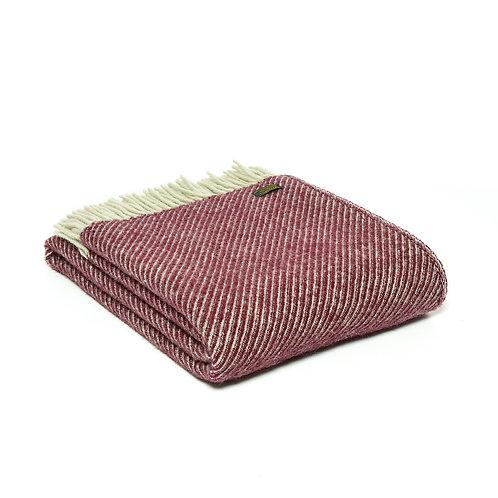 Tweedmill Diagonal Stripe Rosewood Wool Blanket, hygge homewares at Source for the Goose, South Molton, Devon