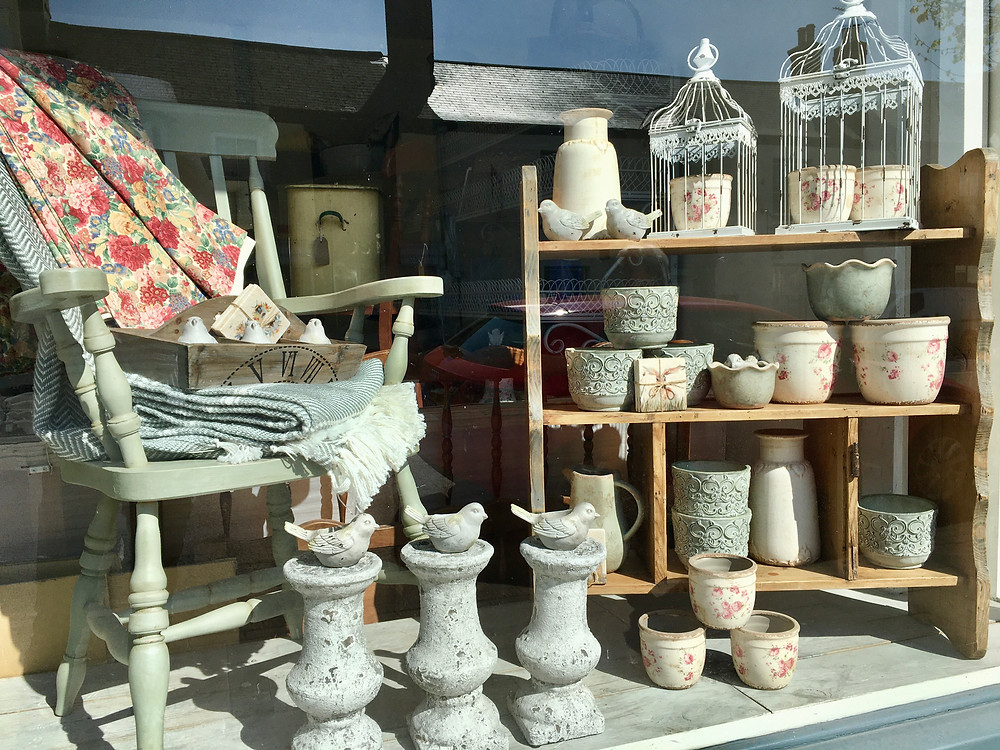 A view of Source for the Goose shop, showing shabby chic, vintage items for sale