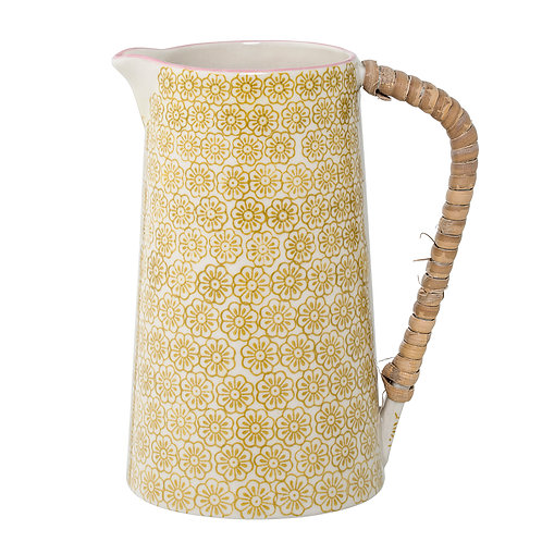 Yellow Flower Pattern Stoneware jug, vintage and retro style interiors at Source for the Goose, Devon