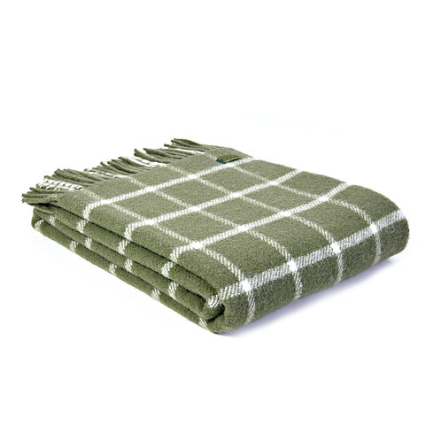 Tweedmill Checquered Check Olive Pure New Wool Blanket with white check design, at Source for the Goose, South Molton, Devon