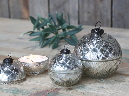 Large Glass Diamond Cut Bauble Candle