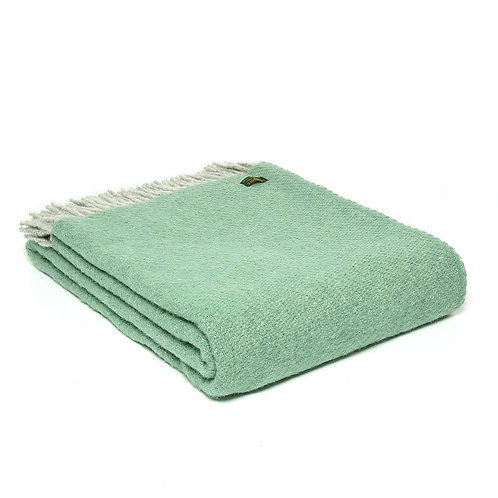 Tweedmill Lifestyle Boa Pure New Wool Blanket in Sea Green, hygge interiors at Source for the Goose, devon