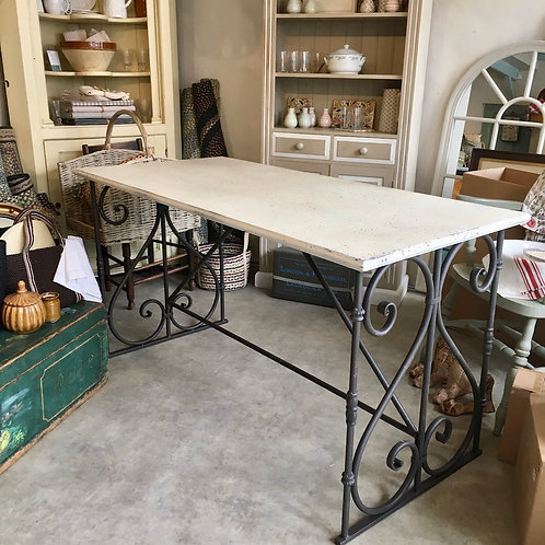 Rustic Look Metal Top Table with Iron Base at Source for the Goose