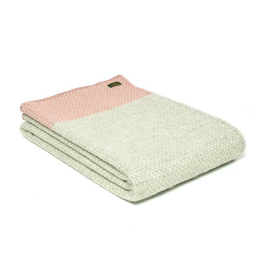Tweedmill Crossweave Dusky Pink and Oatmeal Wool Blanket at Source for the Goose, Devon