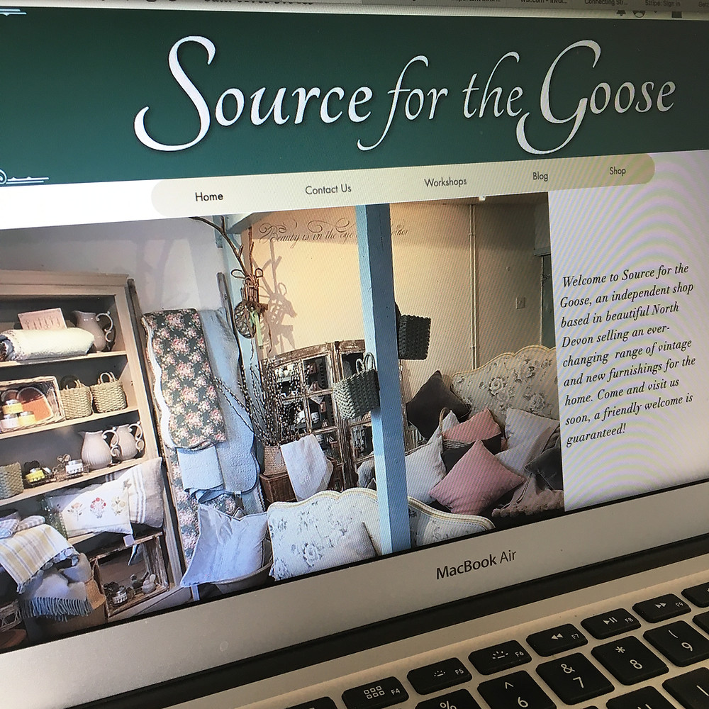 A view of Source for the Goose' website, selling second hand furniture and home decor items