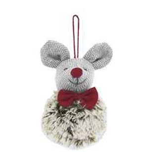 Hanging Festive Mouse bauble with furry body, christmas interiors at Source for the Goose, South Molton, Devon