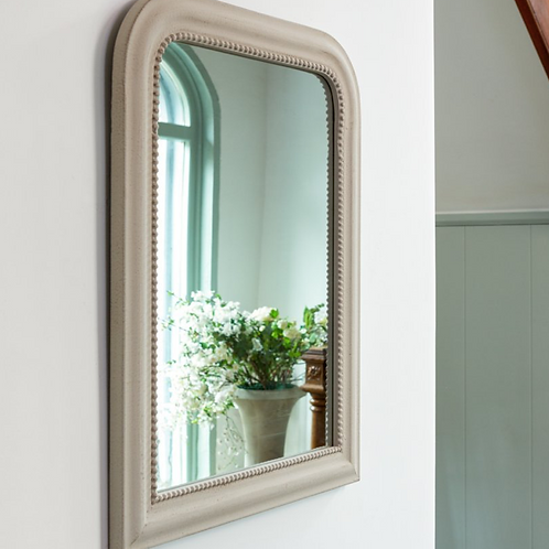 vintage style mirror in stone colour, interiors at Source for the Goose