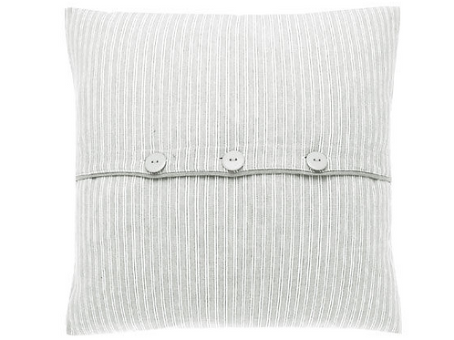 County Ticking Cushion in Suffolk Grey, interiors at Source for the Goose, Devon