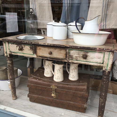 Unique wooden washstand with enamelware bowls and jug, vintage interiors at Source for the Goose