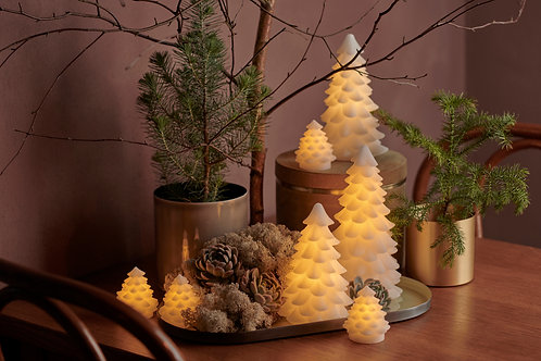 Large LED candle effect Snowy White Christmas Tree, christmas interiors at Source for the Goose, Devon