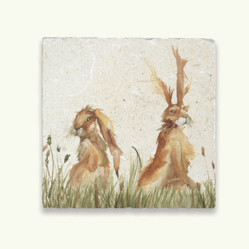 Kate of Kensington Marble Trivet Family A Hares, country interiors at Source for the Goose