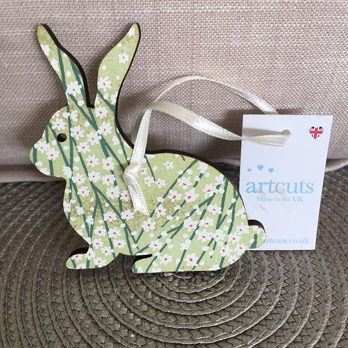 Green Hanging Rabbit Easter Decoration, british made decor at Source for the Goose, Devon