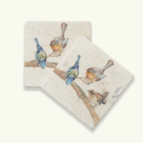 Kate of Kensington Garden Party marble coasters, british garden birds homewares at Source for the Goose