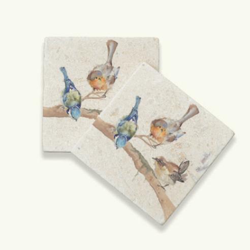 Kate of Kensington Garden Party marble coasters, british garden birds homewares at Source for the Goose