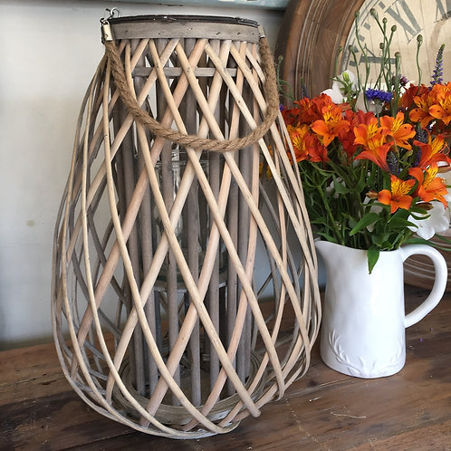 Stunning woven wicker lantern with glass insert, garden interiors at Source for the Goose