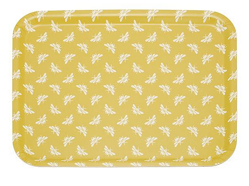 Yellow Ochre Bee Design Tray, Waltons of Yorkshire interiors at Source for the Goose