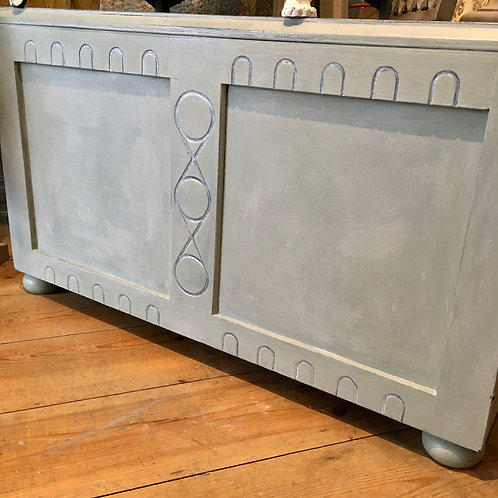 Vintage painted trunk in Annie Sloan Svenska Blue, painted furniture at Source for the Goose