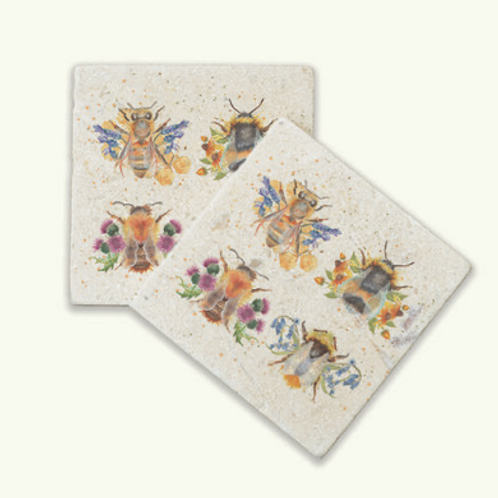 Kate of Kensington British Collection - Bees marble coasters, British designed interiors at Source for the Goose
