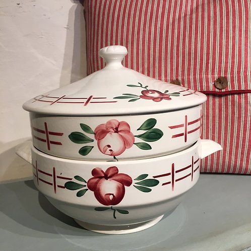 Vintage French Sarreguemines Floral Double Tureen, french country style interiors at Source for the Goose, Devon