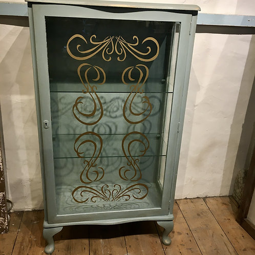 Pretty Painted 1930s Display Cabinet in Annie Sloan Duck Egg Blue, painted secondhand furniture at Source for the Goose