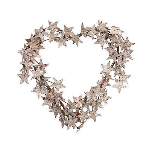 Birch Heart Shaped Wreath with Stars, with silver glitter, Christmas interiors at Source for the Goose, South Molton