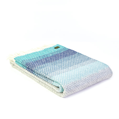 Tweedmill Ombre Seaside pure wool blanket, graduating colours from Petrol and Duck Egg Blue to Grey, at Source for the Goose