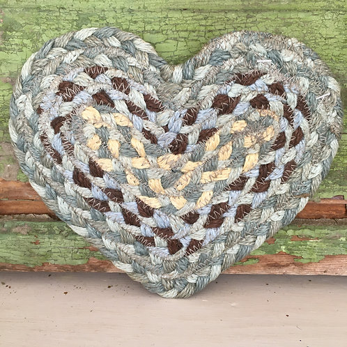 Heart Shaped Coaster in muted Seaspray, shabby chic style to buy in Devon
