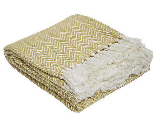 Yellow/green Herringbone Blanket in Gooseberry, Weaver Green interiors at Source for the Goose, Devon