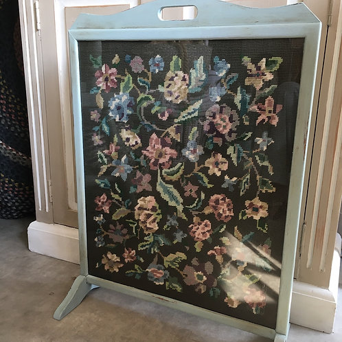 Tapestry Fire Screen with surround painted in Annie Sloan Svenska Blue, to buy at Source for the Goose