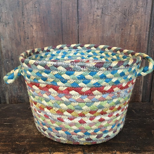 Carnival colour way jute basket from the Braided Rug Company, homewares at Source for the Goose, Devon