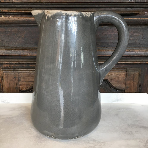 Distressed and crackle glazed large grey jug, unique interiors at Source for the Goose, South Molton, Devon