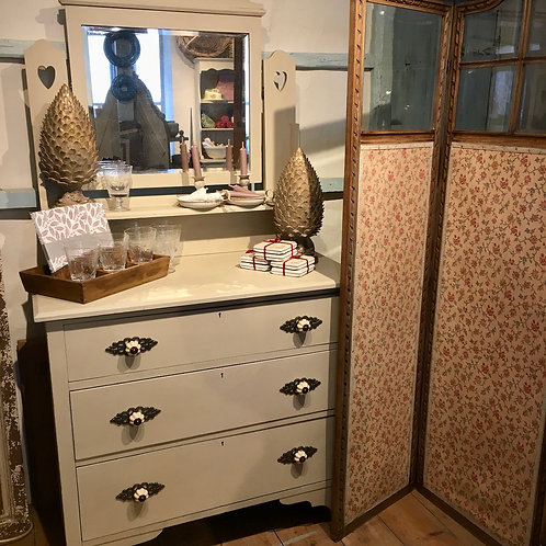 Painted Edwardian Mirrored DressingTable, in Annie Sloan Country Grey, vintage interiors at Source for the Goose, Devon