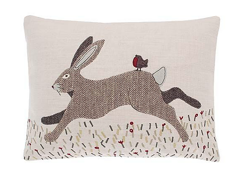 Rustic Tweed Hare and Robin Cushion on porcelain cotton background at Source for the Goose