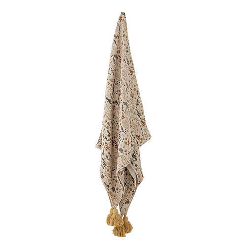 Botanical Themed Throw with Tassels, Bloomingville interiors to buy at Source for the Goose, Devon