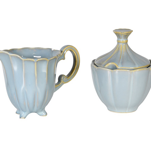 Blue French Style Milk Jug and Sugar Bowl, vintage styled homewares at Source for the Goose, Devon