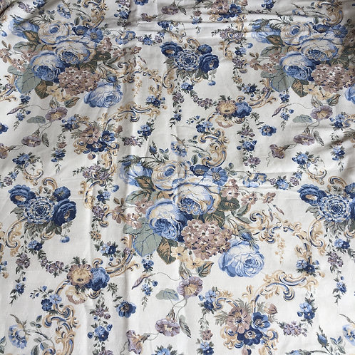 Vintage Floral Curtain Panel, Blue and Grey Flowers on Porcelain background, shabby chic interiors at Source for the Goose