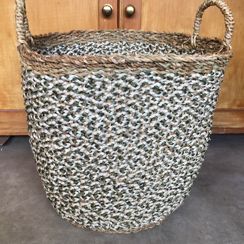 Olive/White Organic Braided Jute Log Basket, vintage styling at Source for the Goose