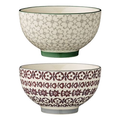 Pretty stoneware bowls with flowered design, rustic interiors at Source for the Goose
