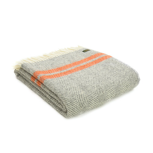 Tweedmill Fishbone Grey and Pumpkin Orange  Wool Blanket, to buy at Source for the Goose, South Molton, Devon