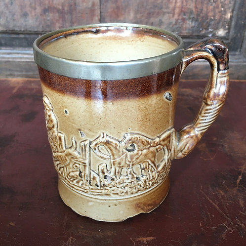 Rustic Studio Pottery Tankard, country style mug, vintage interiors at Source for the Goose, Devon
