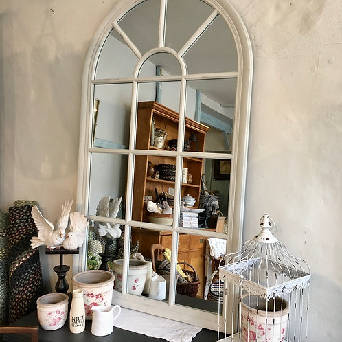 Tall arch top indoor mirror with pretty panes of glass in old white, to buy at Source for the Goose